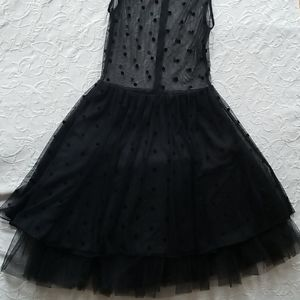 Coconinno tulle lace mesh black polka dress gown